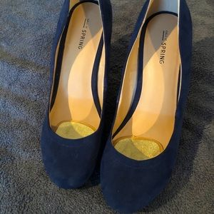 Cute Navy Suede Wedges size 10
